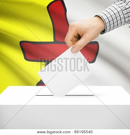 Voting Concept - Ballot Box With National Flag On Background - Nunavut