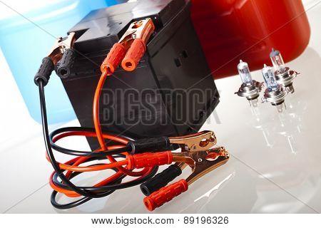 Set of auto parts, car battery on vivid moto concept poster