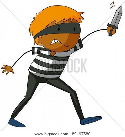 Close up robber carrying a knife