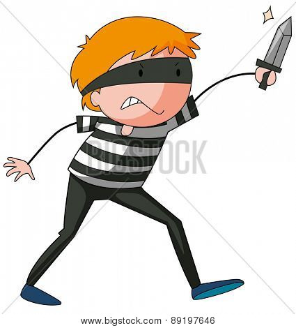 Close up robber in striped shirt holding a knife