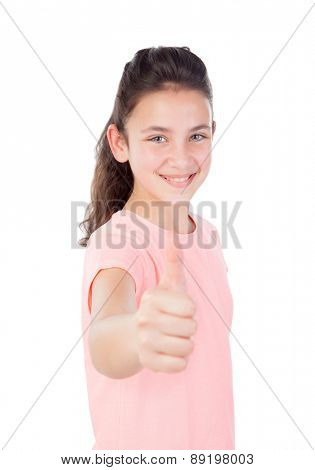 Pretty little girl with blue eyes saying Ok isolated on a white background