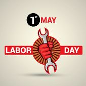 Poster, banner or flyer design with stylish text 1st May Labor Day and illustration of human hand fist holding wrench on abstract background. poster