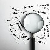 Magnifying glass and lot of other business concept words paper is showing the concept of business vision concept. Blank space of magnifying glass is for your edit. poster