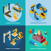 Robot machinery design concept set with transporting sorting processing and manufacture isometric icons isolated vector illustration poster