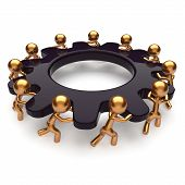 Partnership teamwork business unity brainstorm process mans start turning black gear together. Abstract team unity cooperation relationship community efficiency concept. 3d render isolated on white poster