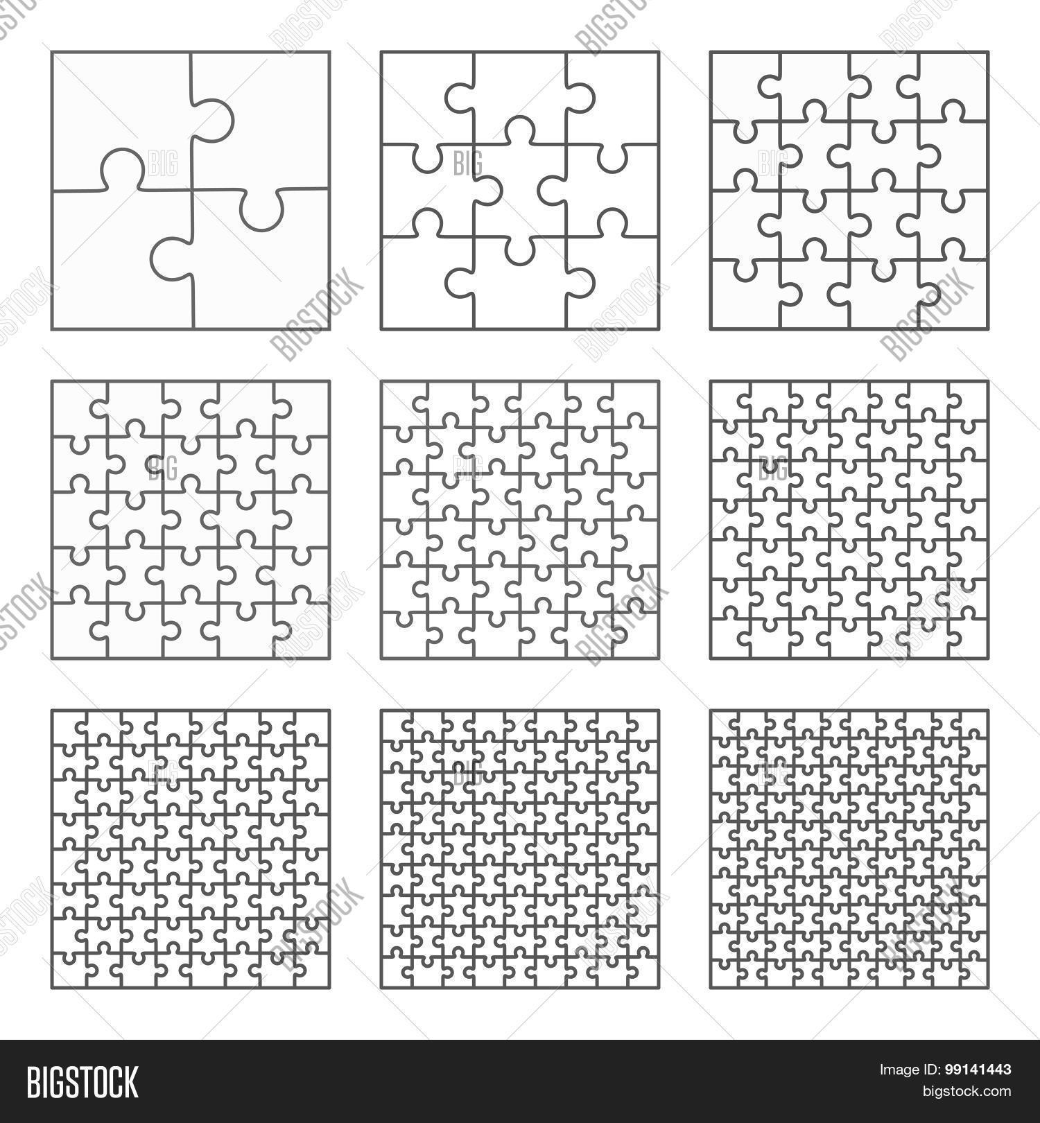 Jigsaw Puzzle Nine Vector Flat Vector & Photo | Bigstock