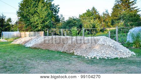 Pile Of Gravel On Construction Site