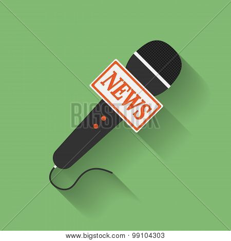 Icon of Microphone Press or News microphone. Flat style