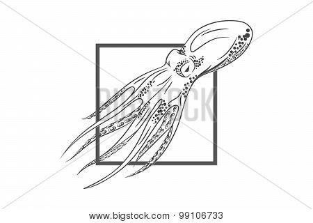Octopus in deep. Template for logo, label and emblem with octopu