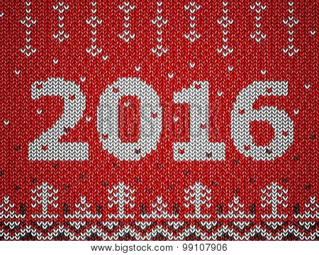 Card Of New Year 2016 With Knitted Texture