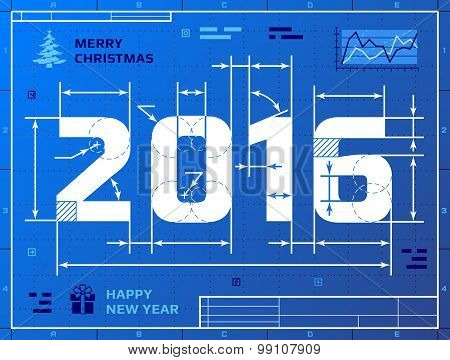 Card Of New Year 2016 As Blueprint Drawing