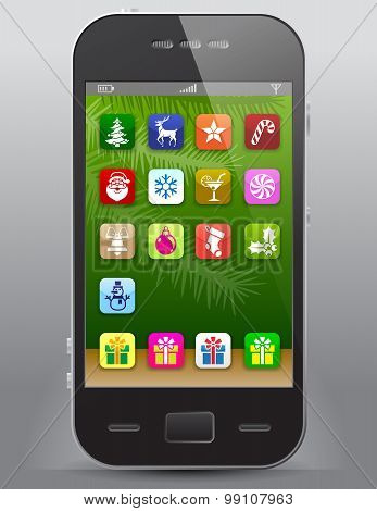 Mobile Phone With Christmas Icons
