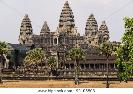 Angkor Wat, part of Khmer temple complex, popular among tourists ancient landmark and place of worship in Southeast Asia. Siem Reap, Cambodia. poster