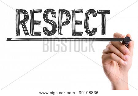 Hand with marker writing the word Respect poster