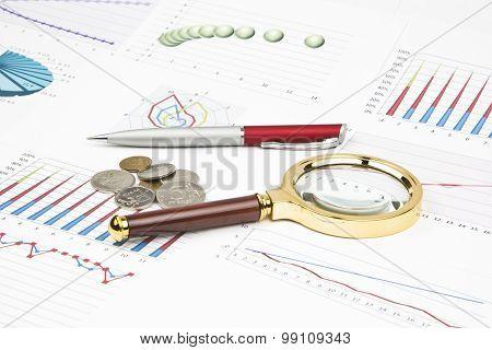 Business Still-life Of A Diagram, Magnifier, Coins, Pen