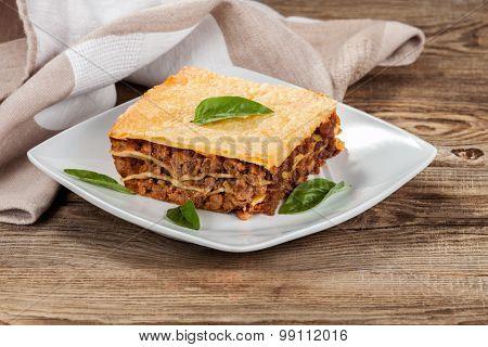 Fresh Hot Lasagna On Old Boards