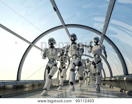 Group of robots running along the corridor.