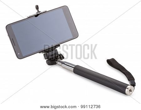 Stick To Self And Smartphone Isolated On White Background