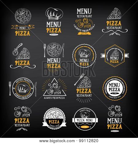 Pizza menu restaurant badges. Food design template.Vector with g