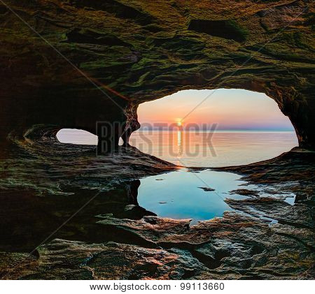 Secluded Sea Cave Sundown