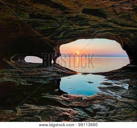 Secluded Sea Cave Sundown