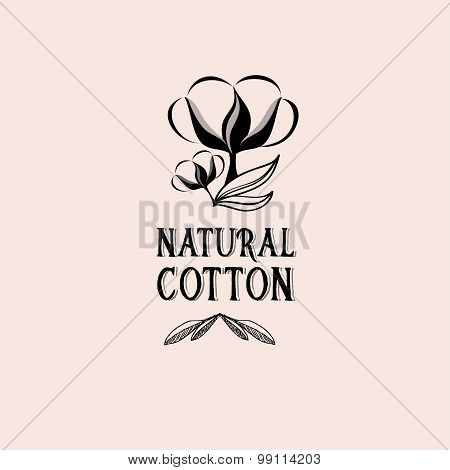 Cotton badges design, organic product.Vector with graphic.