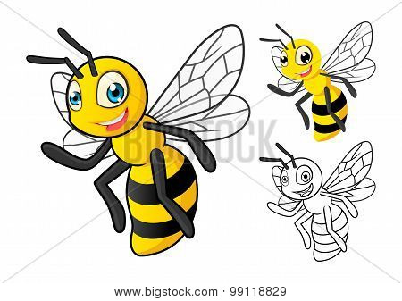 Detailed Honey Bee Cartoon Character with Flat Design and Line Art Black and White Version
