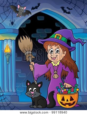 Wall alcove with cute witch and cat - eps10 vector illustration.