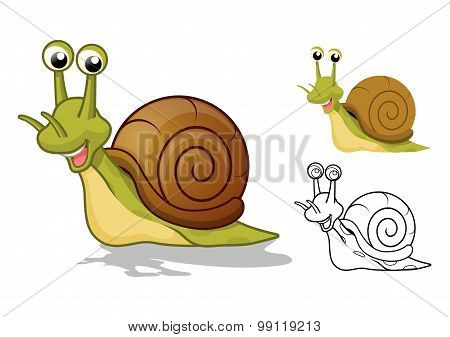 Detailed Snail Cartoon Character with Flat Design and Line Art Black and White Version