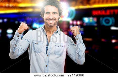 Lucky man winning in a casino