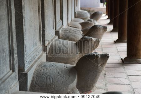 Turtle stone steles, bearing the names of Doctoral laureates of the Temple of Literature