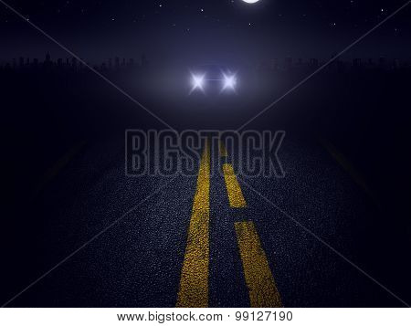 A car drives at night on a dark road