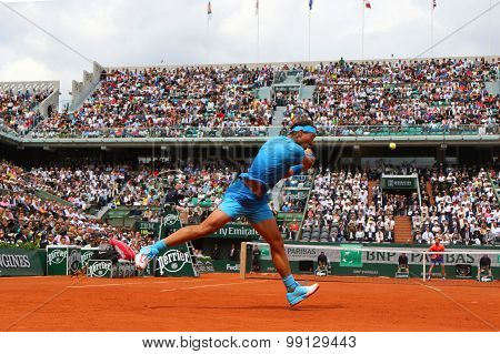 Fourteen times Grand Slam champion Rafael Nadal during match at Roland Garros 2015