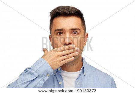 problem, emotion, sorrow and people concept - face of middle aged latin man covering his mouth with hand palm poster