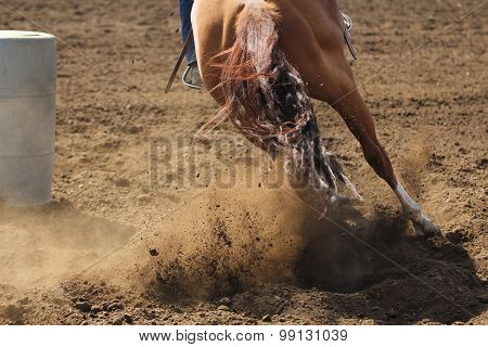 A barrel racing horse is kicking up dirt in an action photo.