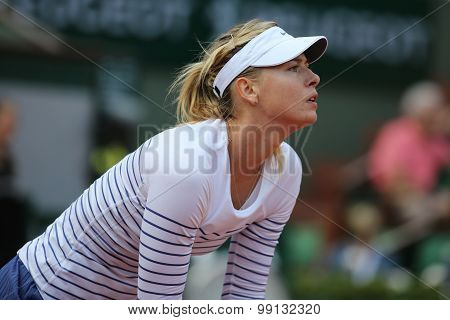 Five times Grand Slam champion Maria Sharapova in action during match at Roland Garros 2015