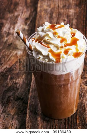 Delicious frappe coffee on the table