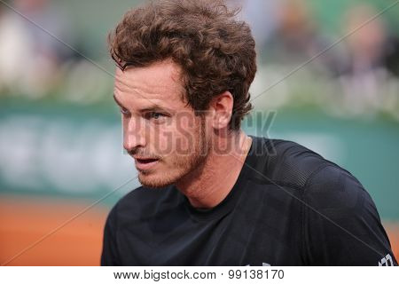 Grand Slam champion Andy Murray after his second round match at Roland Garros 2015