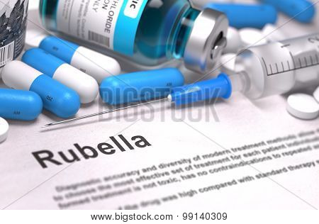 Diagnosis - Rubella. Medical Concept. 3D Render.