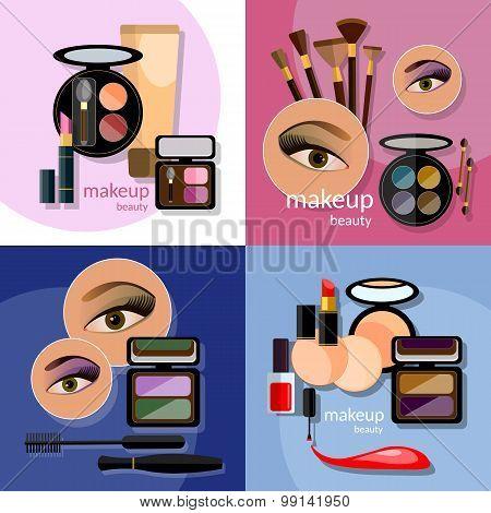 Makeup Beautiful Female Eye Eyeshadow Eyelashes Lip Liner Lipstick Mascara Professional Cosmetics