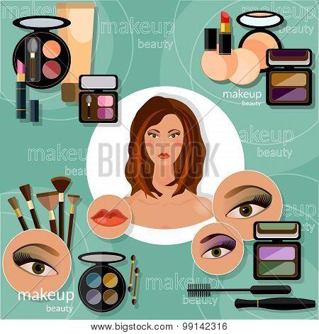 Makeup Artis Beautiful Woman Face Professional Cosmetics Glamorous Female Eye Eyeshadow Eyelashes