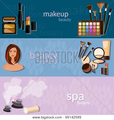 Makeup artist glamour beautiful woman face cosmetics nail polish eye shadow makeover mascara fashion spa vector banners poster