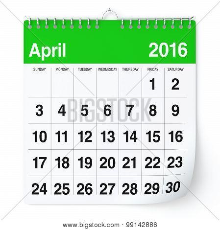 April 2016 - Calendar.