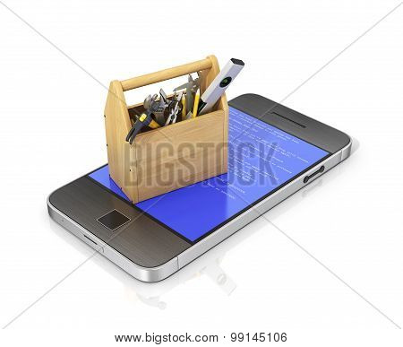 Concept of technical service and repair phone. Wooden box with tools at the phone with blue error screen. Technical support. poster