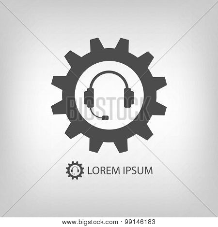 Grey gearwheel and headset as support icon
