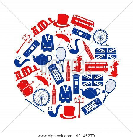 United Kingdom country theme symbols and icons in circle eps10 poster