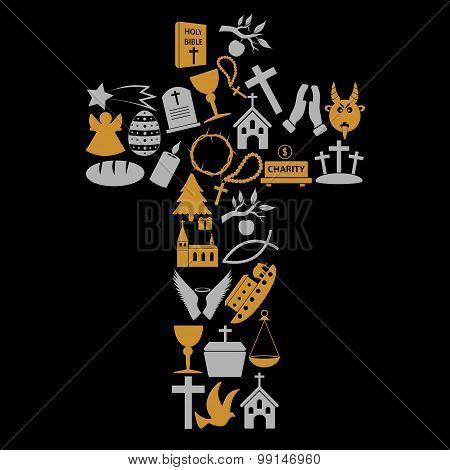 Christianity Religion Symbols In Big Cross Eps10