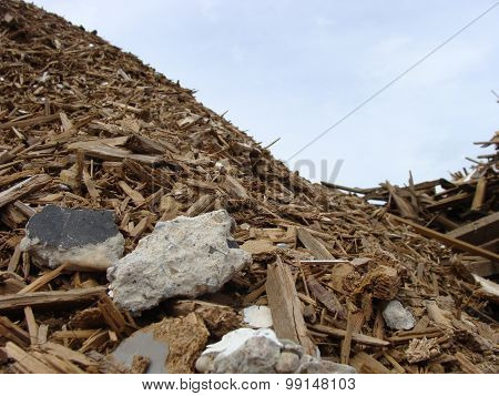 Detail Of A Wood Rubble Pile On A Demolition Site