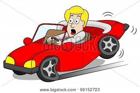 Car Driver Slams On The Brakes