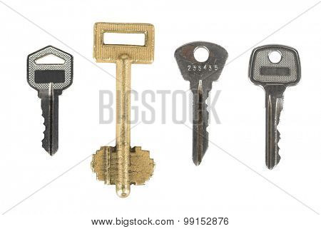 set of different door keys isolated on white background